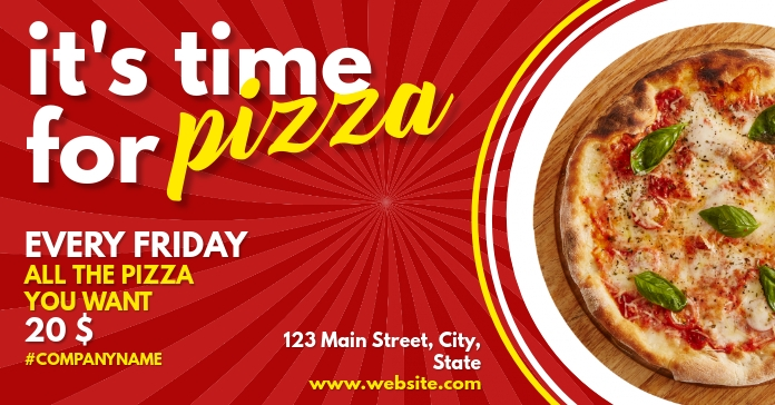 it's time for pizza facebook ad Facebook-Anzeige template