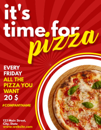 it's time for pizza flyer advertisement template