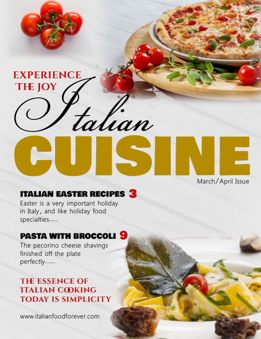 Italian Cuisine Cover Magazine Template Ulotka (US Letter)