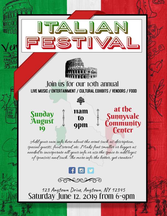 Italian Festival Event Dinner Night Flyer
