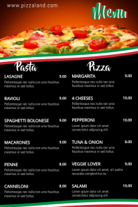 Italian Food Pizza Pasta Menu Template