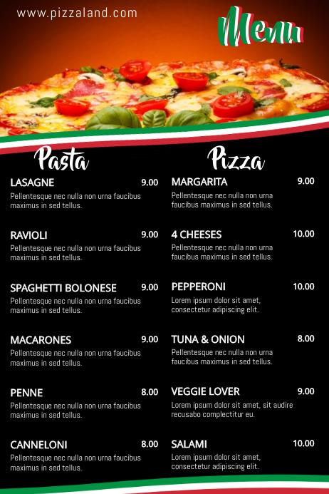 Plantilla de Menú de Pasta de Pizza de Comida Italiana | PosterMyWall