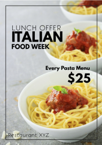 Italian Food Special Week Restaurant Bistro A4 template