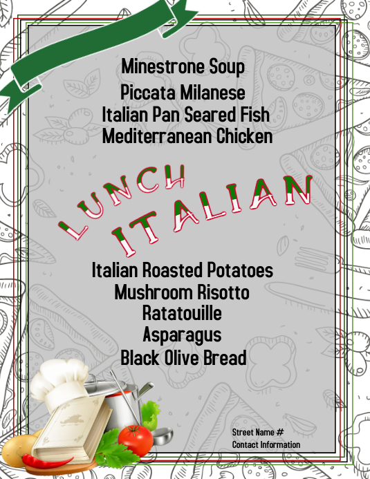Italian Lunch Volantino (US Letter) template