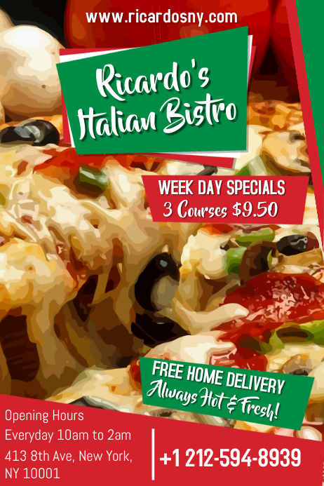 italian restaurant flyer template postermywall