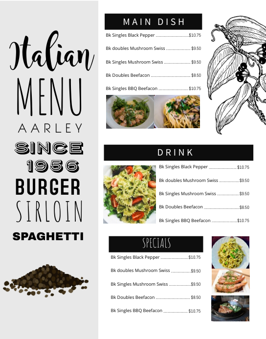 Italian Menu Wall Board Poster/Wallboard template