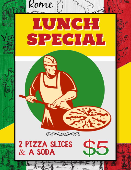 Italian Pizza Lunch Special for fundraiser Flyer (US Letter) template