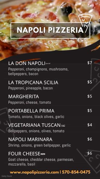 Italian Pizza Menu Board Video