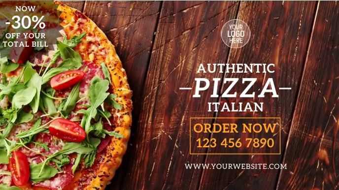 Italian Pizza Restaurant งานแสดงผลงานแบบดิจิทัล (16:9) template