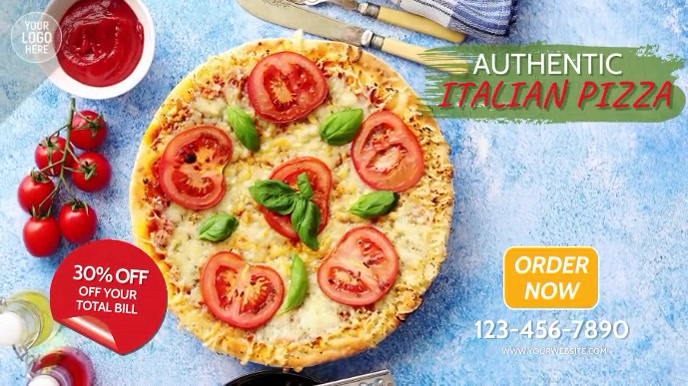 Italian Pizza Restaurant Video Ad Digital Display (16:9) template