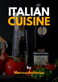 italian recipes book cover design template A4