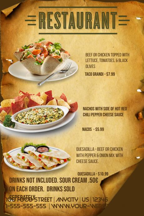 italian restaurant menu template postermywall