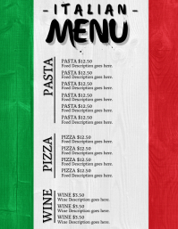 Italian Restaurant Menu Template
