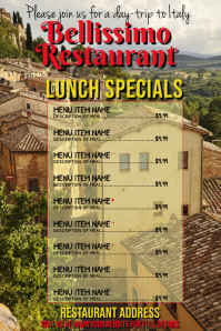 Italian Restaurnt Advert & Menu Plakat template