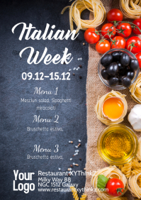 Italian Week Food Menu Card Offer Special Ad A4 template