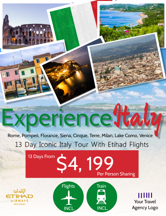 Italy Travel Flyer Template