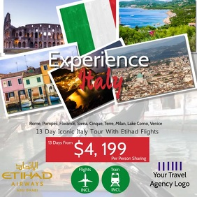 Italy Travel Video Flyer Template