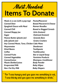 Items to Donate List Template