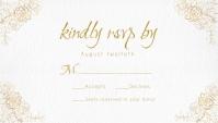 Ivory Texture Gold Foil Wedding RSVP card Carte de visite template