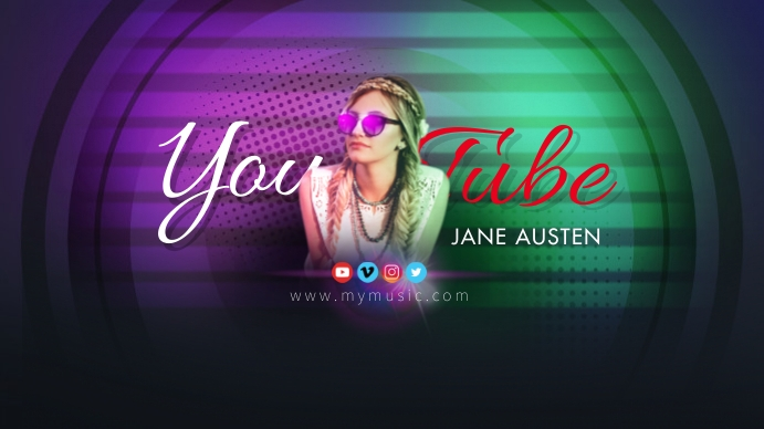 JANE AUSTEN DJ Youtube Art Coverfoto til YouTube-kanal template