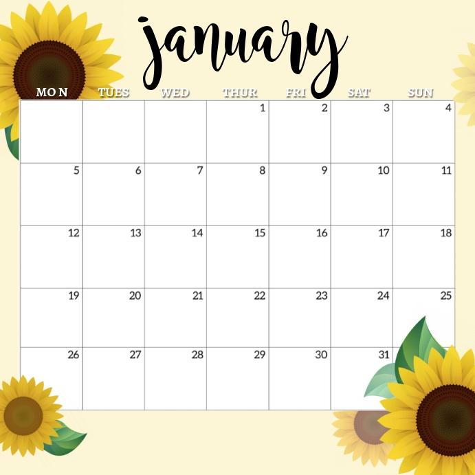January 2020 Calendar Square (1:1) template
