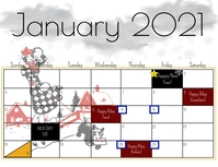 January 2021 calendar Flyer (US Letter) template