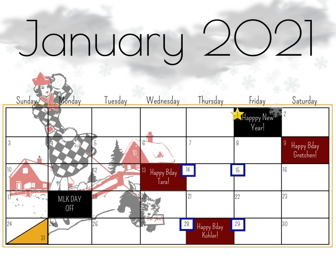 January 2021 calendar ใบปลิว (US Letter) template