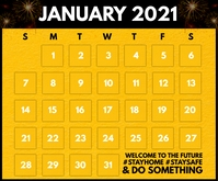 January 2021 Calendar Printable Template Średni prostokąt