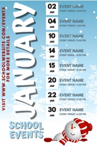 January Events Schedule Calendar Template