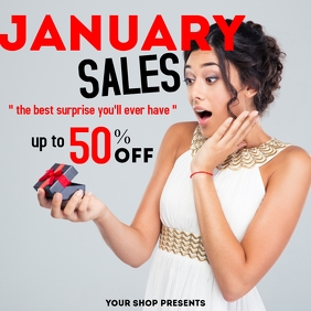 January sales advertisement up to 50% off