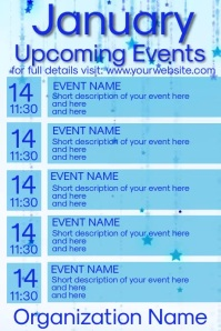 January Video Upcoming Events Calendar Poster template