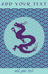 Japanese blue sea pattern and chinese style dragon