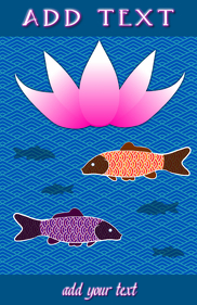 Japanese blue sea pattern and koi gold fish & lotus or water lily flower