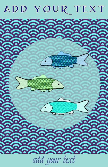 Japanese blue sea pattern and koi gold fish
