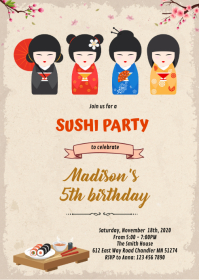 Japanese doll and sushi birthday invitation A6 template
