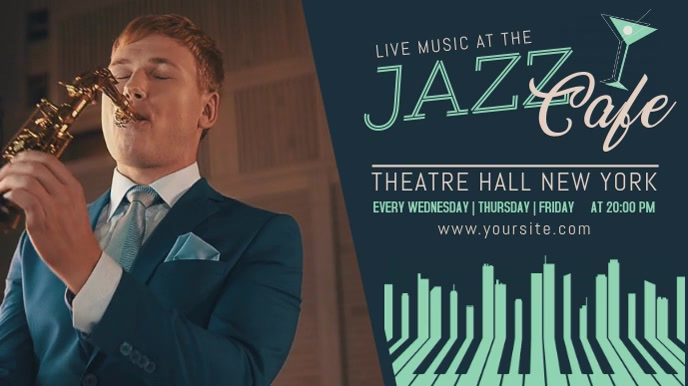 Jazz Concert Facebook Video Template Digitale Vertoning (16:9)