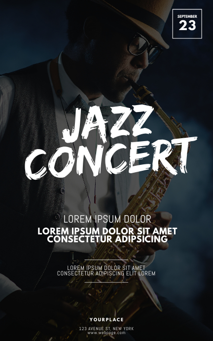 Jazz Concert Flyer Design Template Kindle/Book Covers