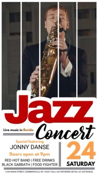 Jazz Concert Video Display Pantalla Digital (9:16) template