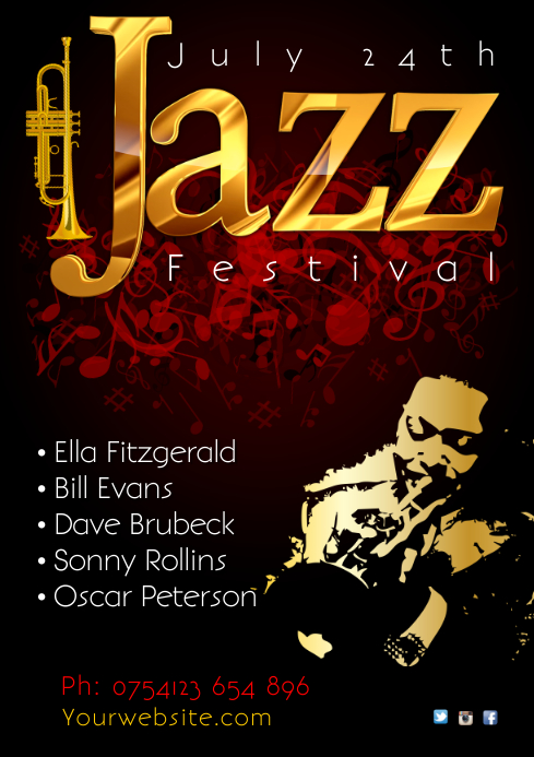 Jazz Festival Poster A4 template