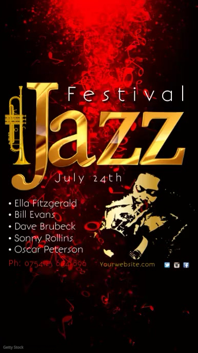 jazz festival template Digitalanzeige (9:16)