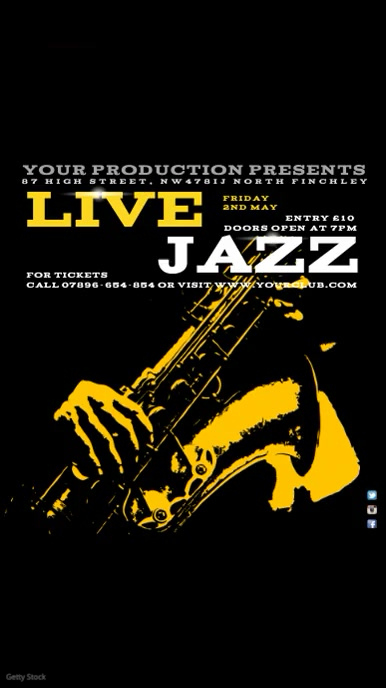 Jazz festival video invitation Digitale Vertoning (9:16) template