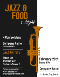 Jazz music and food night Flyer (US Letter) template
