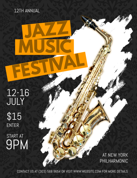 Jazz Music Festival Flyer Pamflet (Letter AS) template
