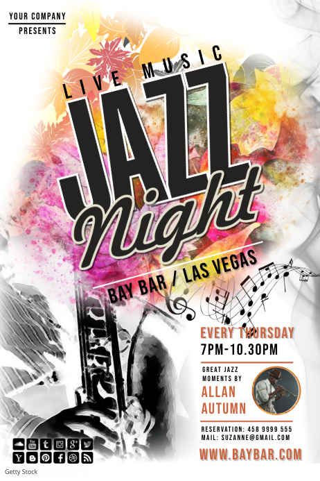 jazz night 1 Poster template