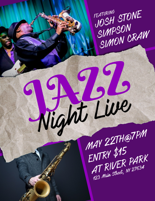Jazz Night Live Flyer Pamflet (Letter AS) template