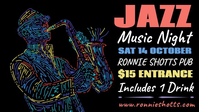 Jazz Night Poster Template Digitalanzeige (16:9)