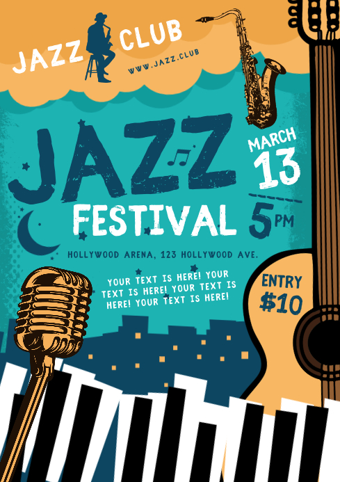 JAZZ PARTY POSTER A4 template
