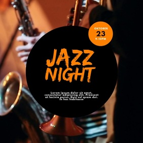 jazz saxophone event video design template Square (1:1)