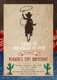 Jean cowboy birthday party invitation