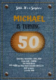 Jean theme party invitation A6 template